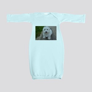 coton de tulear on bench Baby Gown