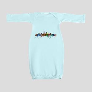 Cleveland Ohio Skyline Baby Gown