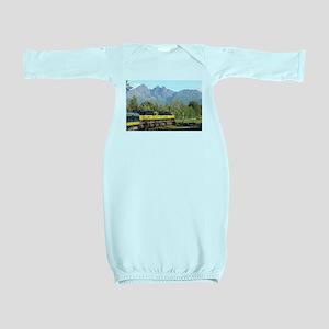 Alaska Railroad locomotive engine & moun Baby Gown