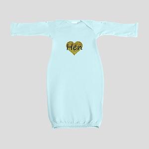 hen gold glitter heart Baby Gown