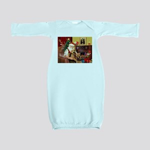 Santa's Two Airedales Baby Gown