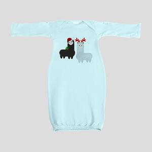 christmas reindeer alpacas Baby Gown