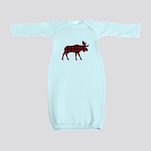 Plaid Moose Animal Silhouette Baby Gown