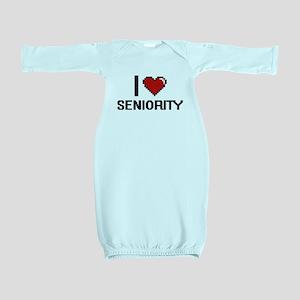 I Love Seniority Digital Design Baby Gown