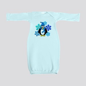Penguin Snowflakes Winter Design Baby Gown