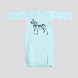 Pit Bull Word Art Greyscale Baby Gown