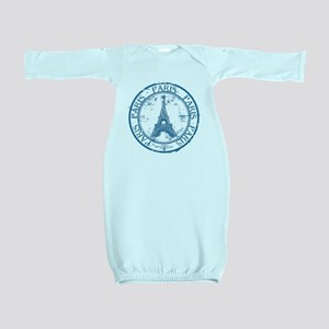 Paris travel stamp Baby Gown