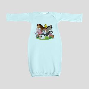 Cartoon Farm Animals Baby Gown