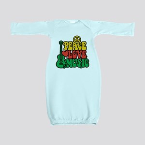Reggae Peace Love Music Baby Gown