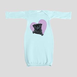 blkpug-artpink Baby Gown