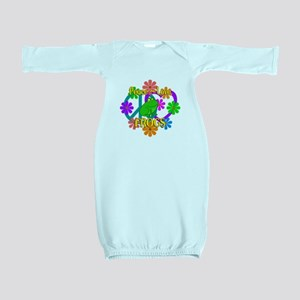 Peace Love Frogs Baby Gown