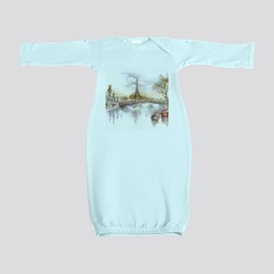 Eiffel Tower Painting Baby Gown
