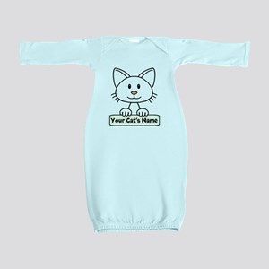 Personalized White Cat Baby Gown