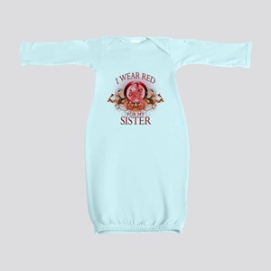 I Wear Red for my Sister (floral) Baby Gown