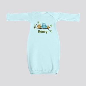 Custom Baby Name Owls Baby Gown