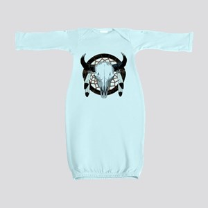 Buffalo skull dream catcher Baby Gown