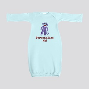 Purple Sock Monkey Baby Gown