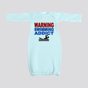 Warning Swimming Addict Baby Gown