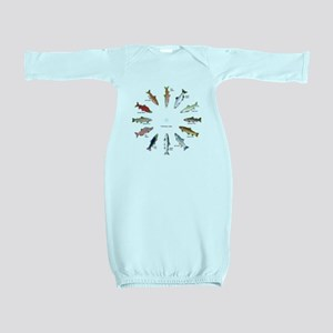 North American Salmon and Trouts Clocks Baby Gown