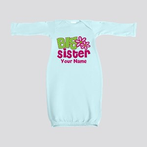 Big Sister Pink Green Personalized Baby Gown