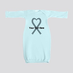 Personalized Gray Ribbon Heart Baby Gown