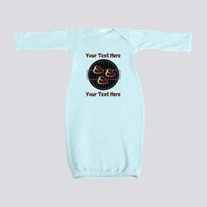 CUSTOM TEXT Meat On BBQ Grill Baby Gown