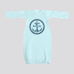 Anchor, Nautical Monogram Baby Gown
