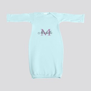 Personalized pink monogram Baby Gown