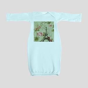 floral vintage paris eiffel tower Baby Gown