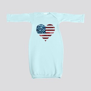 usa flag heart Baby Gown