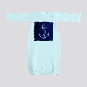 nautical navy blue anchor Baby Gown