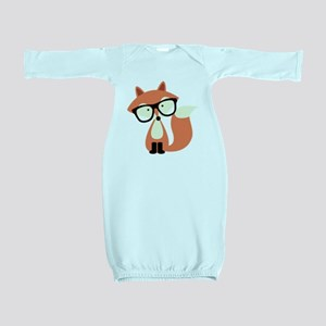 Cute Hipster Red Fox Baby Gown