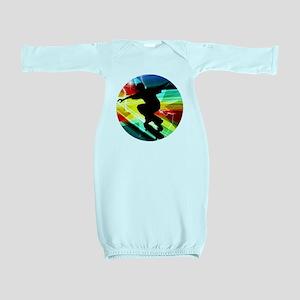 Skateboarder in Criss Cross Lightning Baby Gown