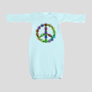 Rainbow Peace Marijuana Leaf Art Baby Gown