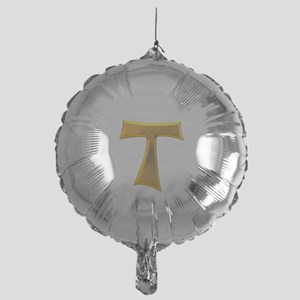 Golden Franciscan Tau Cross Mylar Balloon