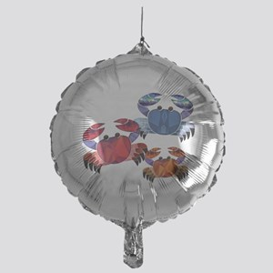 Blue & Red Mosaic Crab Trio Mylar Balloon