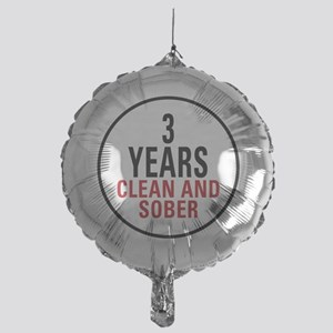 3 Years Clean and Sober Mylar Balloon