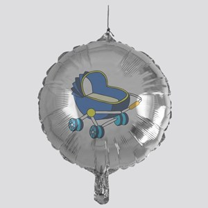 blue themed baby carriage graphic Balloon