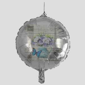 blue floral paris eiffel tower Mylar Balloon