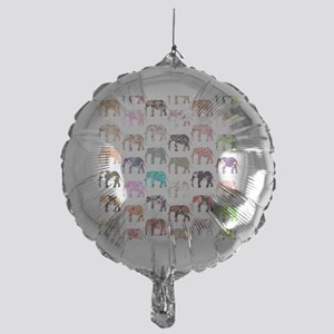 Girly Whimsical Retro Floral Elephan Mylar Balloon