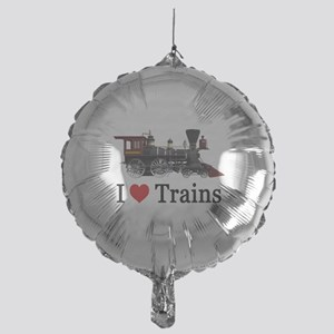 I LOVE TRAINS Mylar Balloon