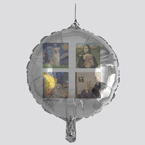 T-FamousArt-w-4-Goldens-clear Mylar Balloon