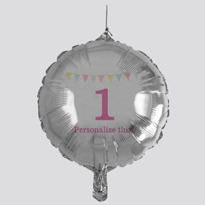 Pink Birthday Pennant Mylar Balloon