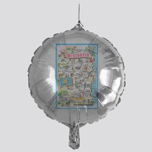 Wisconsin Map Greetings Mylar Balloon
