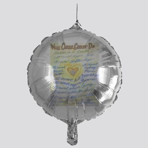 Blue & Gold Heart Cancer Mylar Balloon