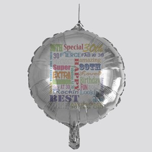30th Birthday Typography Mylar Balloon