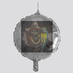 J Rowe Pirate and Parrot Black Backg Mylar Balloon
