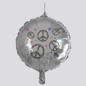 Peace signs and flowers pattern Mylar Balloon