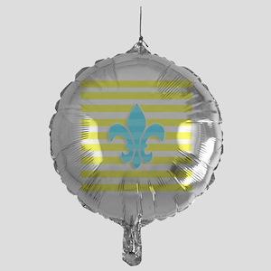 Blue Yellow White Stripe Fleur De Li Mylar Balloon