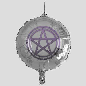 Purple Metal Pagan Pentacle Mylar Balloon